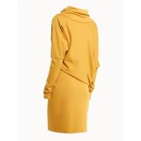 Yellow Turtleneck Plain Slim Bodycon Dress