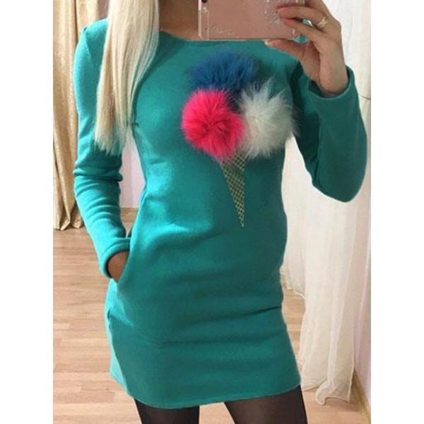Pompom Pocket Slim Casual Dress
