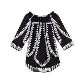 Color Block Slash Neck Loose Casual Dress