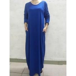 Floor Length Pocket Plain Loose Maxi Dress