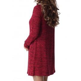 Loose Button Single Plain Casual Dress