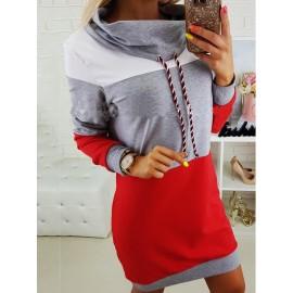 Hooded Color Block Drawstring Casual Dress