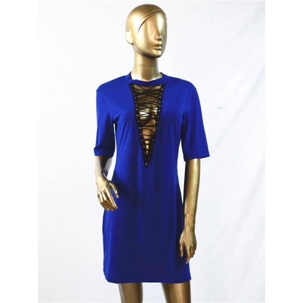 Crisscross Plain Loose Single Patchwork Casual Dress