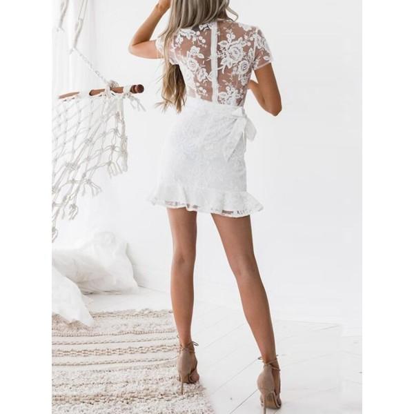 Falbala Plain V-Neck Women's Lace Dress