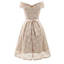Slash Neck Knot Women's Lace Dress
