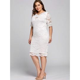 Plus Size White V-Neck Lace Women's Lace Dress