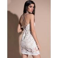 Lace-UP Hollow Spaghetti Strap Sexy Bodycon Dress