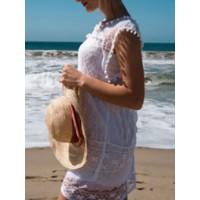 Sleeveless Plain Hollow Women's Lace Dress