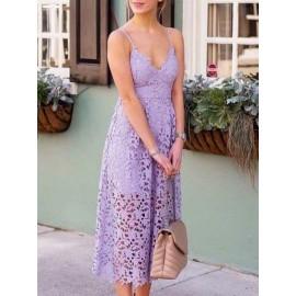 Plain Strappy Hollow Women's Lace Dress