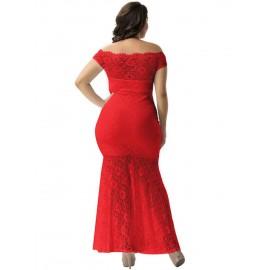 Plus Size Off The Shoulder Hollow Mermaid Women's Lace Dress