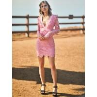 Backless Plain Hollow V-Neck Women's Lace Dress