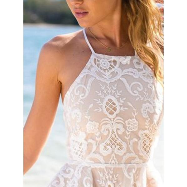 Hot Halter Sleeveless Women's Lace Dress