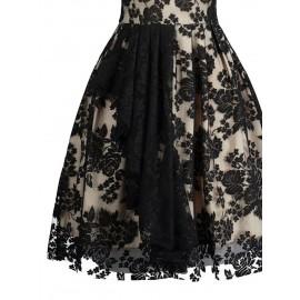 Women's Short Sleeve Contrast Color Lace Dress