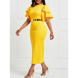 Falbala Pure Color Knee-Length Bodycon Dress