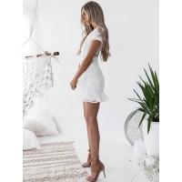 2018 Best Seller V-Neck Falbala Short Sleeve Lace Dress