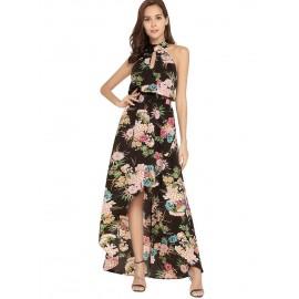Floral Asymmetric Ankle Length Women's Dress