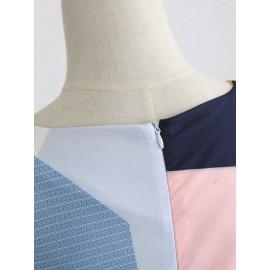 Circular Collar Sleeveless  Geometric Printing  A Line Women's dress