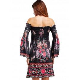 European Style Floral Off Shoulder Floral Dress