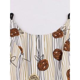 Vintage Print Spaghetti Strap Women's Dress