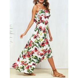 Off Shoulder Strap Floral Printing Women's Dress