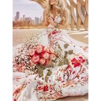 Bohemia Floral Print V Neck Women's Dress