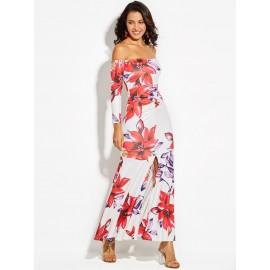 Slash Neck Flower Print Backless Women's Maxi Dress