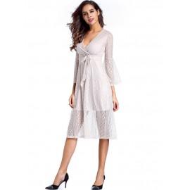 Lace V Neck Pagoda Sleeve Women's Dress