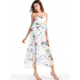Chiffon Floral Strap Sleeveless Women's Dress
