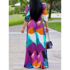 Contrast Color Half Sleeve Sexy V-Neck Maxi Dress