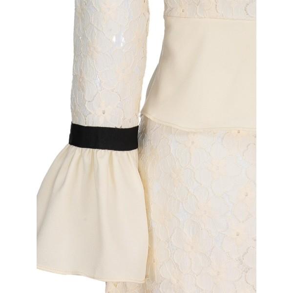 Bell Sleeve High Waist Women's Lace Dress
