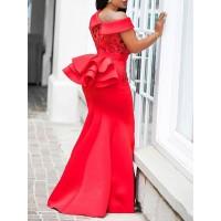 Slim Sequins One Shoulder Fishtail Women's Maxi Dress
