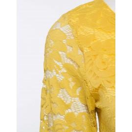 Yellow Round Neck Long Sleeve Lace Dress