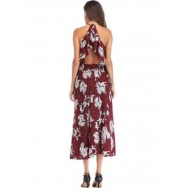 Bohemian V Neck Backless Women's Maxi Dress