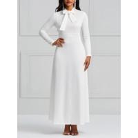 Polo Neck Bowknot Ankle-Length Maxi Dress
