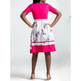 A-Line Floral Printing OL Dress