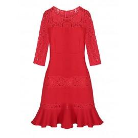 Stitching Lace Loose Plus Dress