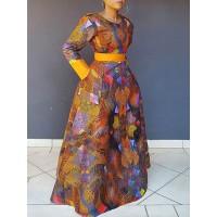 Round Collar Long Sleeve Women's Maxi Dress