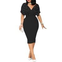 Bead V-Neck Bodycon Dress