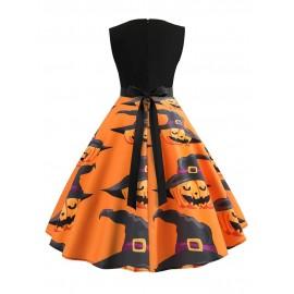 Halloween Stitching Zipper Floral Sleeveless Knee-Length Dress