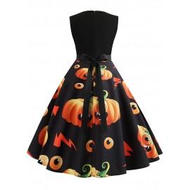 Halloween Round Neck Zipper Floral Knee-Length Dress