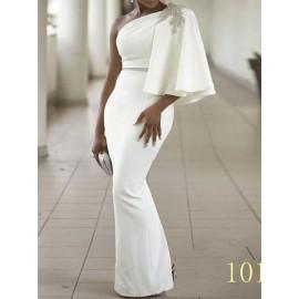 Women's One Shoulder Pure Color Floor-Length Maxi Dress
