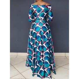 Elegant Print High-Waist Slash Neck Zipper Maxi Dress