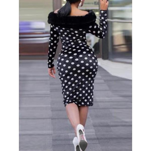 Polka Dots High-Waist Bodycon Dress