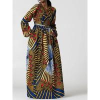 Ethnic V-Neck High-Waist Maxi Dress
