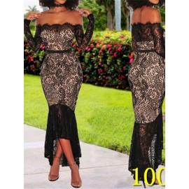 Slash Neck Asymmetric Backless Patchwork Lace Dress