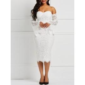 Off-The-Shoulder Patchwork Flare Sleeve Lace Dress