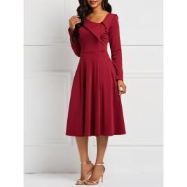 Elegant Long Sleeve Pullover A-Line Dress
