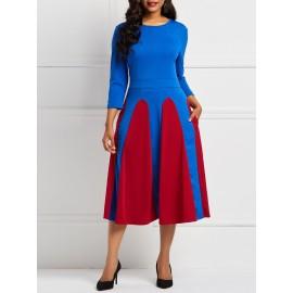 Elegant Color Block Round Neck Skater Dress