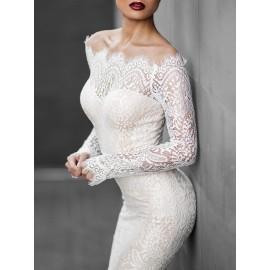 One Shoulder Asymmetric Hollow Fishtail Lace Dress