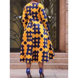 Asymmetric A-Line  Color Block Maxi Dress